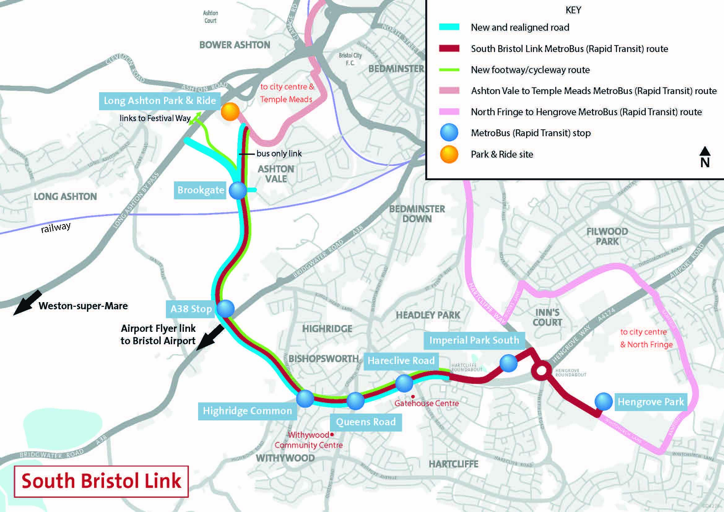 Map Of Uk Bristol.South Bristol Link Route Map Alun Griffiths Contractors Ltd
